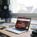 Home studio with a mackbook pro watching Aforplug's website